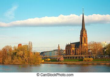 Dreikoenigs church and River Main in Frankfurt,