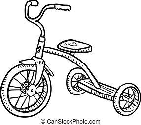 dreiradfahren, kind, skizze