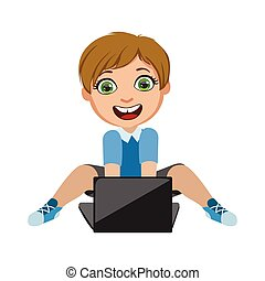 dreng, boldspil spille video, på, skød top, noget af, børn, og, moderne, gadgets, series, i, vektor, illustrationer