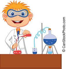 dreng, cartoon, gør, kemisk, experime