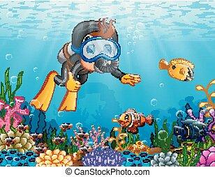 dreng, cartoon, hav, dykning