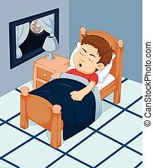 dreng, cartoon, sov, soveværelset