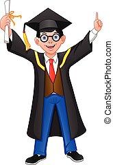 dreng, gratulationer, graduere, tommelfinger oppe, unge
