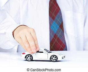dreng, hånd, hos, hvid, legetøj vogn