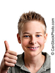 dreng, hans, glæde, unge, oppe, tommelfingre