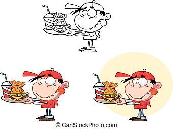 dreng, holde, en, faste, mad., samling