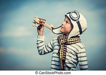 dreng, hos, af træ, flyvemaskine