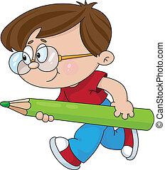 dreng, hos, en, blyant