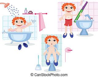 dreng, ind, den, badeværelse
