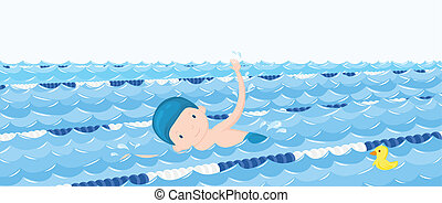 dreng, ind, den, svømmebassinet, cartoon, vektor, illustration