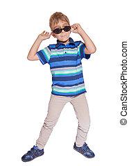 dreng, ind, sunglasses., afsondre, på hvide, baggrund