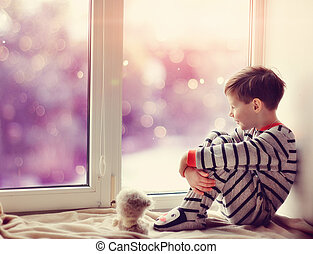 dreng, ind, vinter, vindue