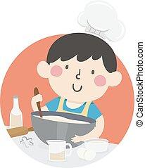 dreng, køkkenchef pastry, barnet, illustration
