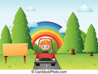dreng, kørende, rød vogn, parken