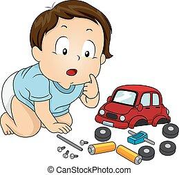 dreng, legetøj vogn, dele, baby, barnet