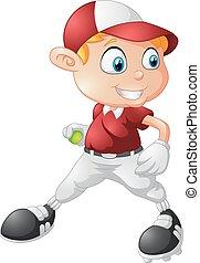 dreng, liden, baseball, spille, cartoon