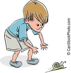 dreng, liden, fange, snail.