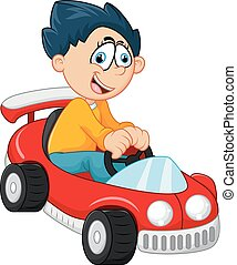 dreng, liden, hans, automobilen, stykke legetøj, spille