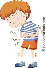 dreng, liden, har, stomachache