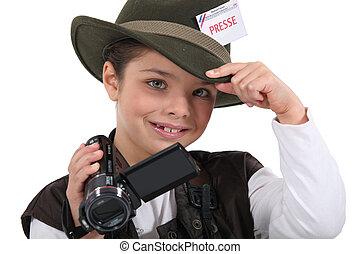 dreng, liden, påklædt, referent