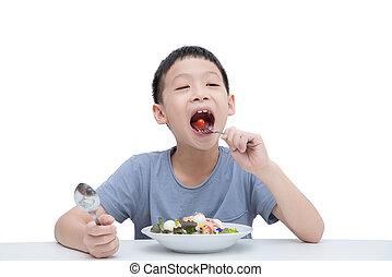 dreng, nydelse, grønsager, salat