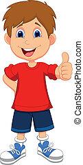 dreng, opgivelse, tommelfingre, du, cartoon