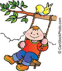 dreng, på, en, swing.