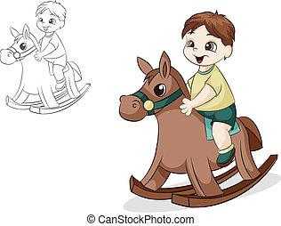 dreng, på, hest