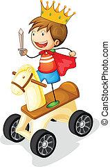 dreng, på, legetøj hest