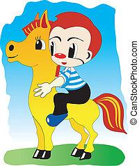 dreng, på, pony