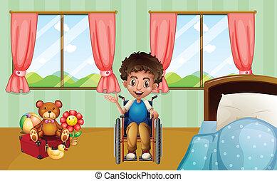 dreng, på, wheelchair
