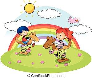 dreng pige, på, rokke hest