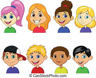 dreng, pige, sæt, cartoon, samling