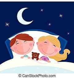 dreng, pige, -, siblings, sov