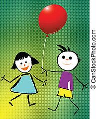 dreng pige, spille, hos, balloon