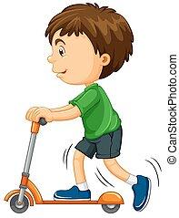 dreng, ride, på, scooter