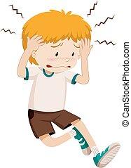 dreng, sørgelige, har, hovedpine