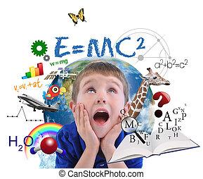 dreng, skole, undervisning, hvid, lærdom