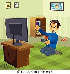 dreng, spille, boldspil video