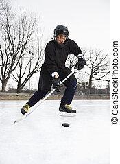 dreng, spille, is, hockey.