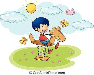 dreng, spille, på, rokke hest
