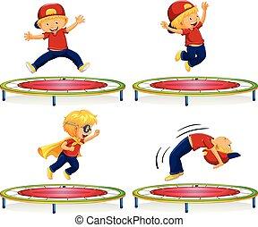 dreng, springe, på, rød, trampolin