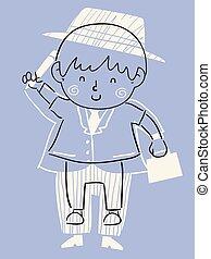 dreng, tøjsæt, illustration, voksen, hæve, barnet