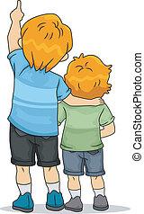 dreng, tilbage, oppe, kigge, siblings, udsigter