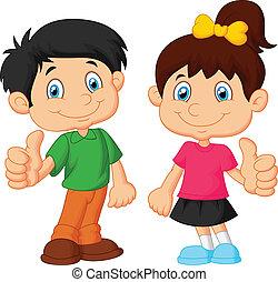 dreng, tommelfinger, give, du, pige, cartoon