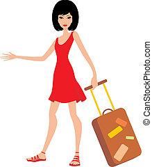 dres, kobieta, czerwony, walizka