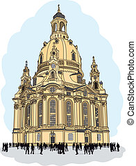 dresden, -, alemania, iglesia, nuestro, dama