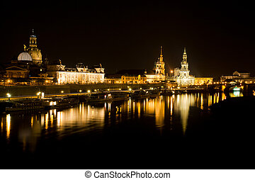 Dresden at night. Elbe river view.