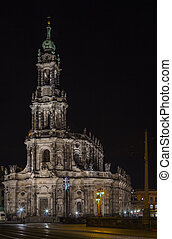 Dresden Cathedral At night, Germany