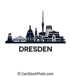 dresden, este, versión, alemania, extendido, perfil de ciudad